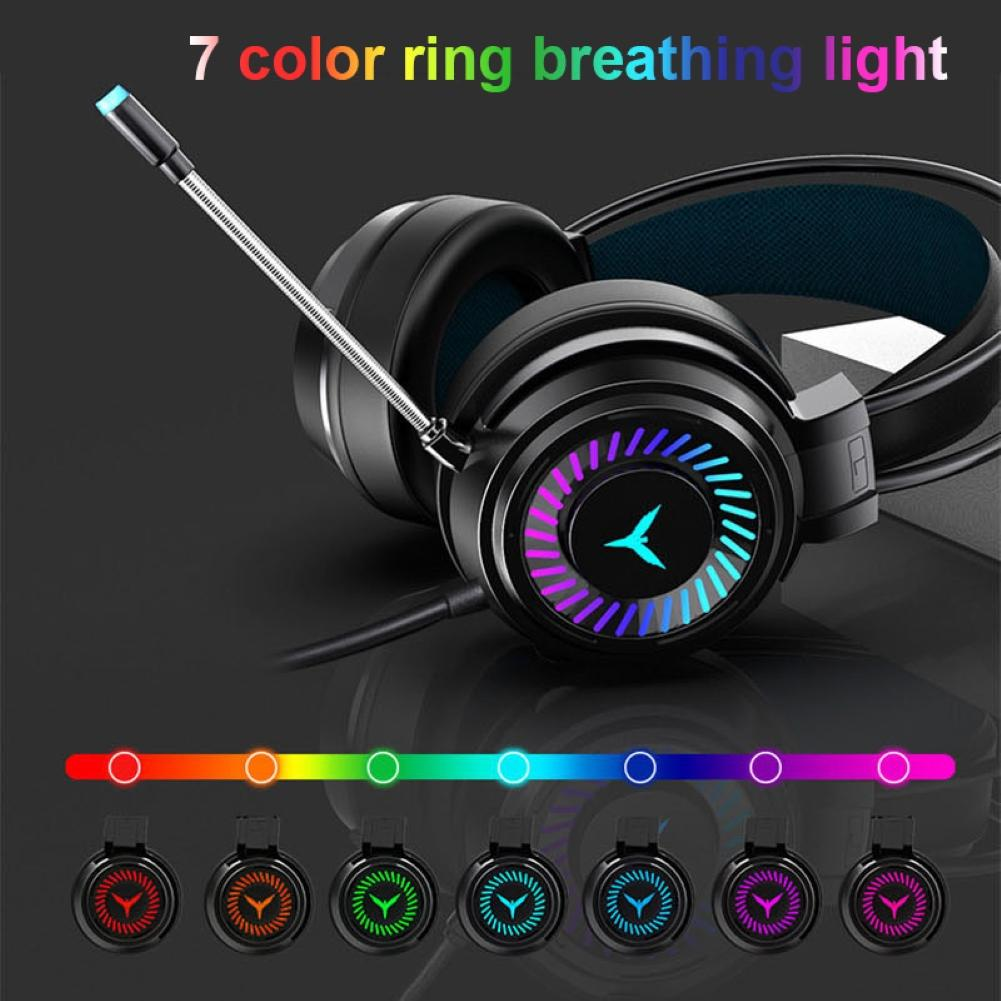 G58 7 Colors RGB LED Light Gaming Headset 3D Stereo Wired Bass Headphone with Mic for PC/Laptop Prof