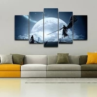 5pcs canvas wall art picture home decoration final fantasy game anime character scene hd printing poster accessories frameless