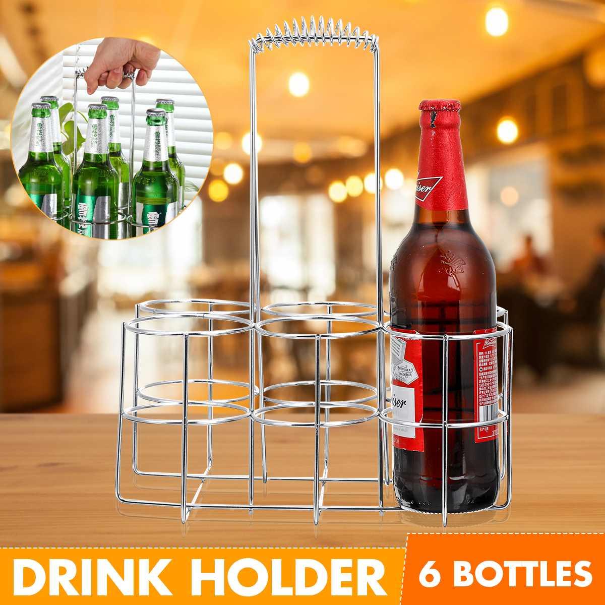 Estante portátil para vino, cesta de 6 botellas, soporte de Metal Vintage para vino, estante pequeño para vino y estante para botellas de vino