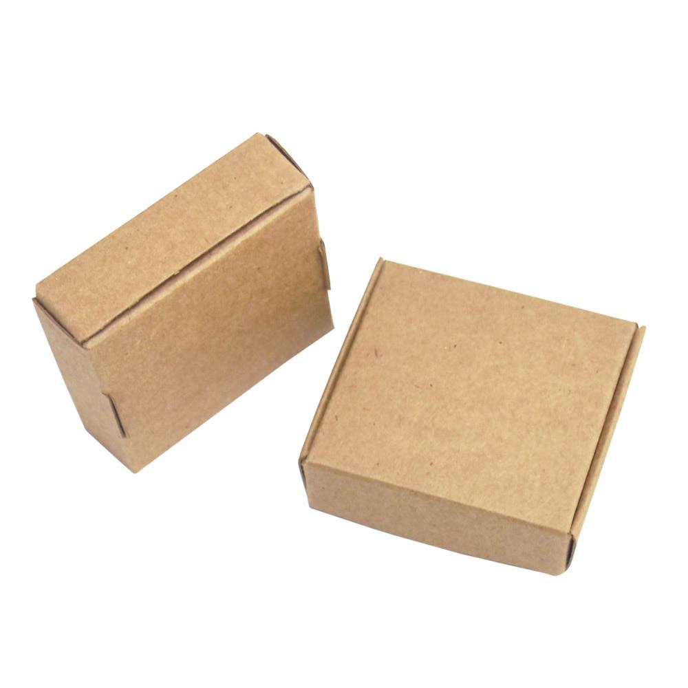 5,5x5,5x1,5 cm marrón 50 piezas cartón Kraft embalaje caja de regalo hecho a mano jabón caramelo para decoraciones de boda fiesta suministros