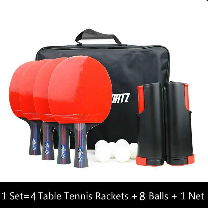 Набор профессиональных резиновых ракет для настольного тенниса, углеродное лезвие для пинг-понга, длинная ручка летучей мыши с 4 ракетами для настольного тенниса + 8 шариков + 1 сетка