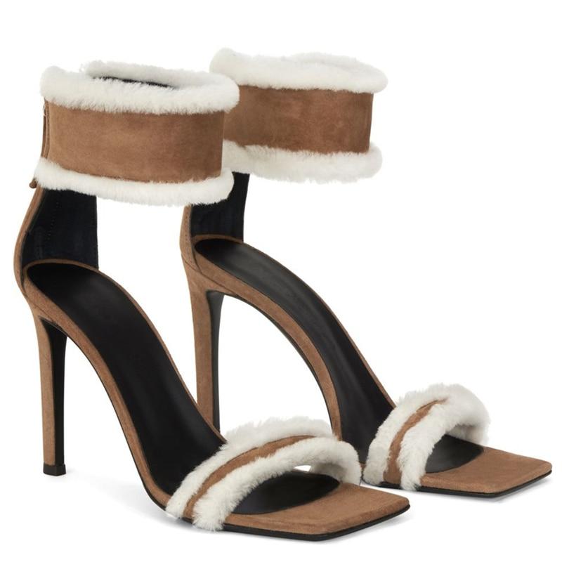 Summer 2021 New Women Sandal Plush Shoes Square Head High Heels Women's Thin Heel Suede Sandals Gladiator Sandalias Mujer Pumps