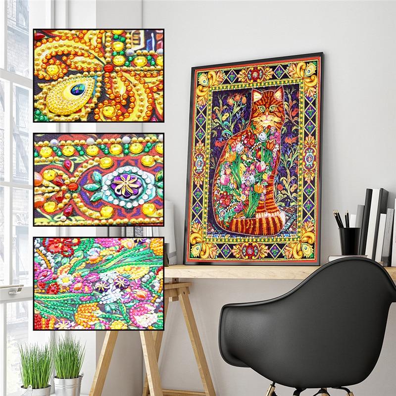DIY pintura de diamantes Alien Diamond Flower Cat 5D pintura de bordado mosaico pegatina decorativa