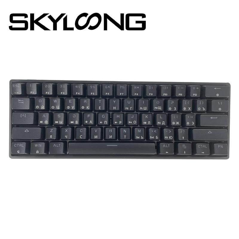 Skyloong SK61 النسخة الروسية 61-مفاتيح USB السلكية لوحة المفاتيح الميكانيكية الألعاب اكسسوارات مصغرة Teclado ألعاب الكمبيوتر Gateron الأصفر Gk61