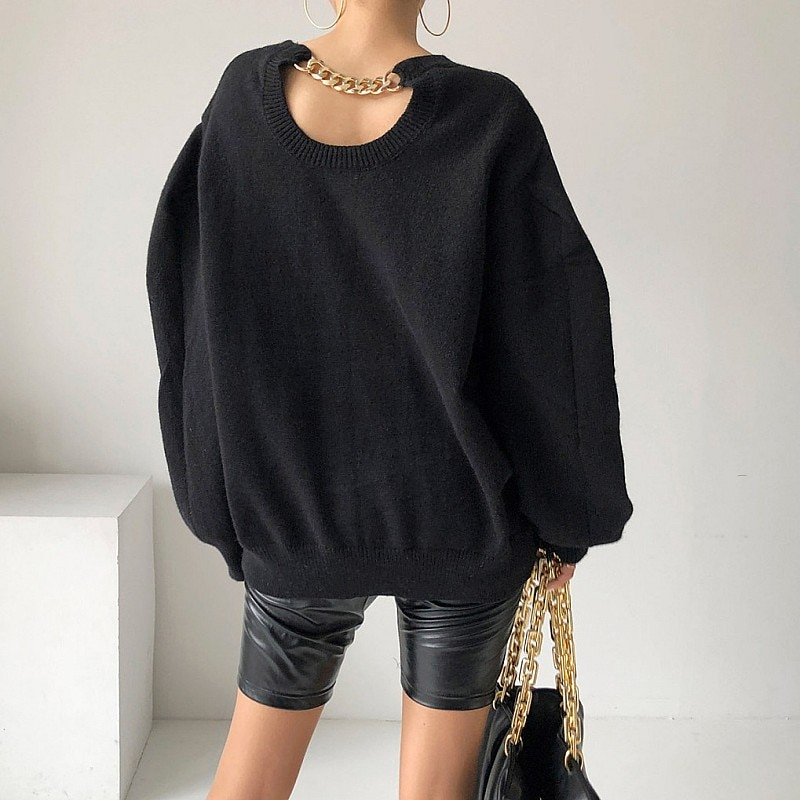 Korean Ins Back Sneaky Design Chain Decoration Fashionable Retro Crew Neck Pullover Lazy Long Sleeve