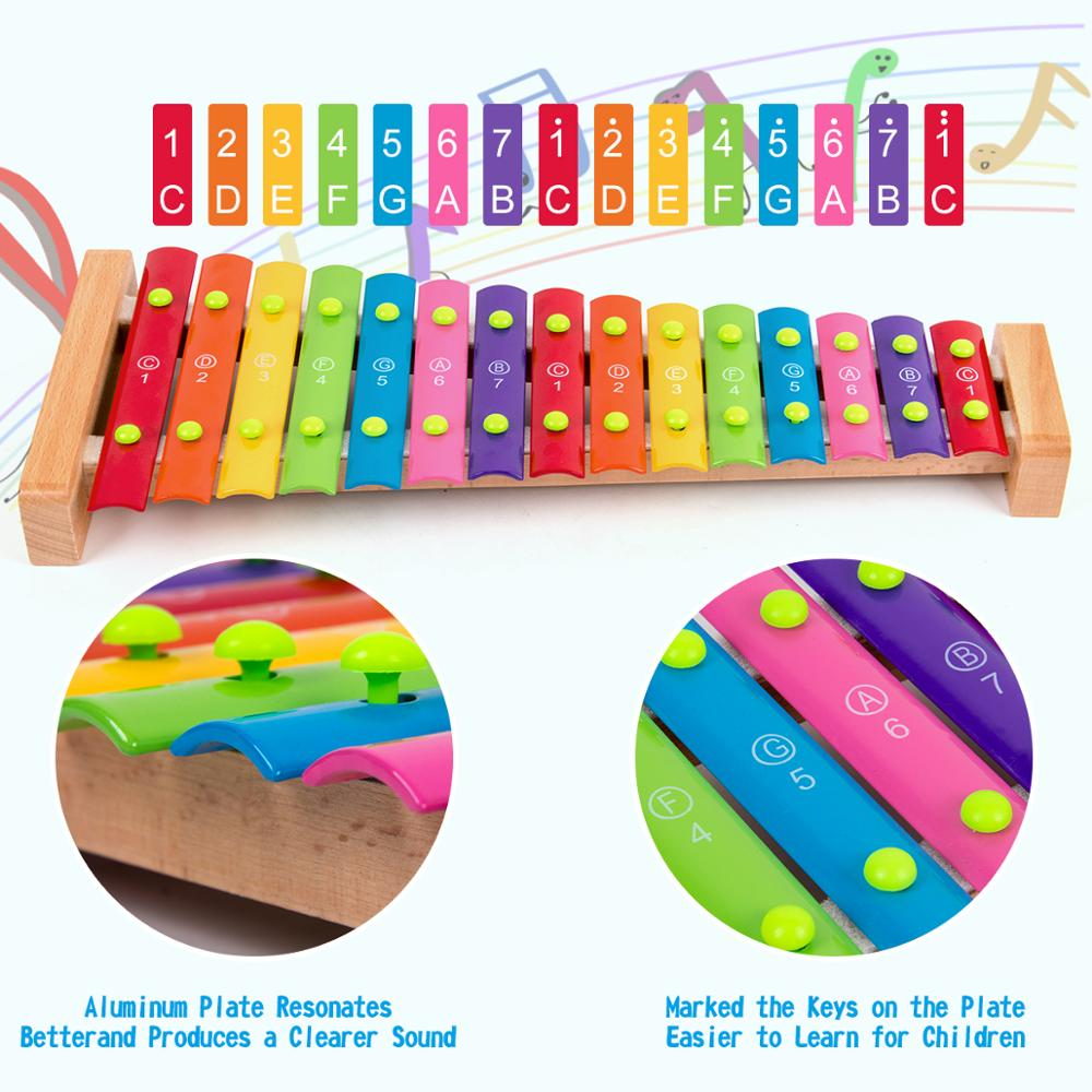 Kmise Wooden Xylophone Musical Toys Baby Enfant Children with Mallets 15 Keys Non-Toxic Preschool Learning enlarge