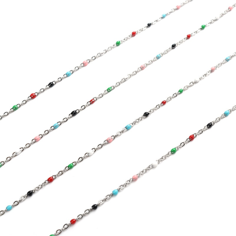 1 Meter Stainless Steel Link Cable Enamel Chain Bohemia Style Metal Chains For Necklace Bracelets Jewelry Making DIY Accessories