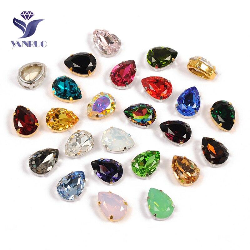 YANRUO 4320 gota de cristal cosido en cristales lágrima gota fantasía diamantes de imitación coser piedras de Strass para la ropa