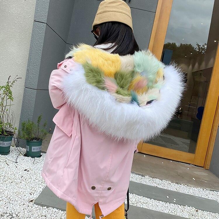 2020 Winter Kids Girls Thicken Warm Real Fur Liner Parkas Children Girls Hooded Jackets Fashion Child Overcoat New Clothes W801