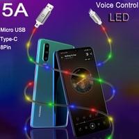 Кабель с разъемом Micro USB Type-C для 5A осветительный кабель Голосовое управление USB-C Кабо типа C для быстрой зарядки для Xiaomi redmi Примечание 7 7a 8 Huawei...