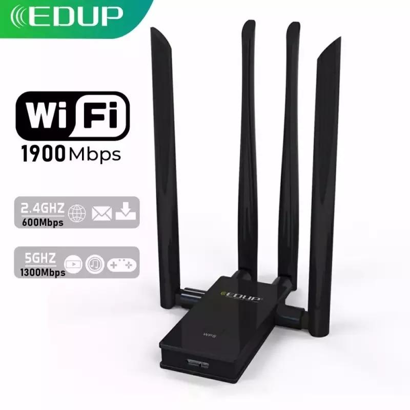 AliExpress - EDUP 5GHz USB WIFI Adapter 1900mbps 802.11ac Long Distance WiFi Receiver with 4*6dBi Antennas USB 3.0 Wireless Ethernet Adapter