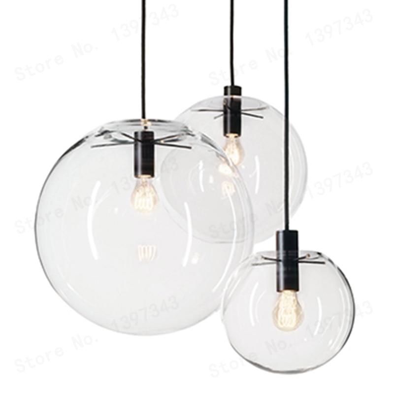 GZMJ Wonderland Modern Black Clear Glass Ball Pendant Handing Lamp Light Luster LED Glass Ball Bar Kitchen High Quality