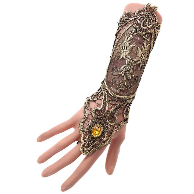 Gothic Steampunk Lace Cuff  Fingerless Glove Arm Warmer Bracelet Black Gold