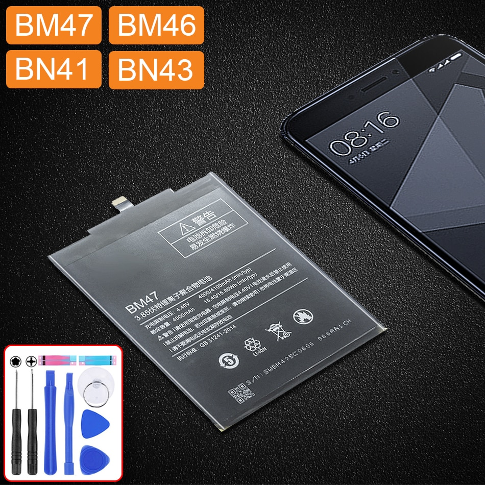 Bateria bm47 para xiaomi redmi 4x 3 3s 3pro/redmi 5 plus 5a/redmi note 4 4x bataria 5a 3pro bm 47 46 bn 41 43 bm46 bn41 bn43
