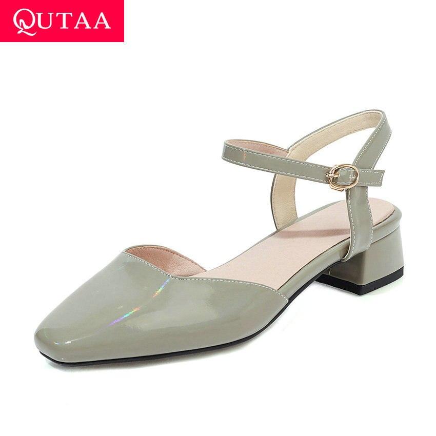 QUTAA 2020 Square Toe PU Leather Ladies Pumps Buckle Summer Women Shoes Square Heel Slingback Fashion Sandals Big Size 34-43