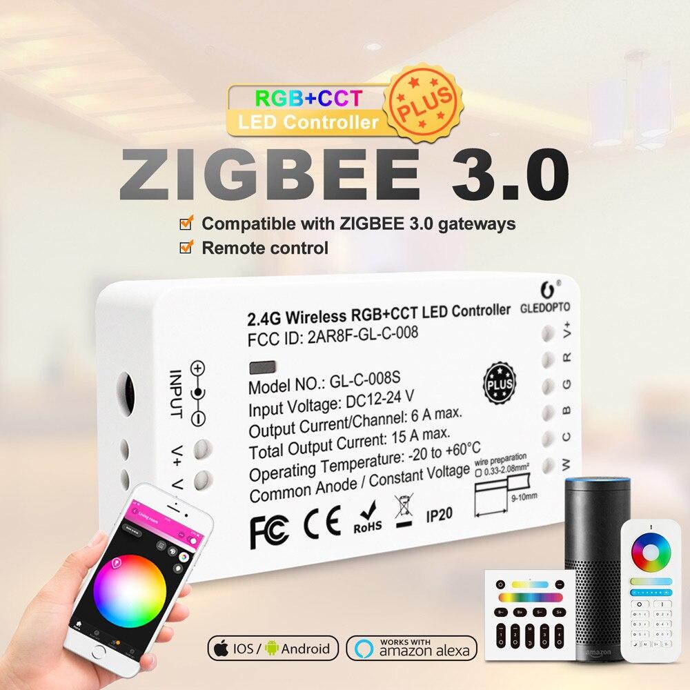 zigbee hub led controller led rgbw rgbcct wwcw dimmer timer zigbee controller comptible with amazon echo plus app control GLEDOPTO Zigbee RGBCCT LED Controller Plus RGB CCT Smart Working with Amazon Alexa Echo 3.0 Gateway APP Remote Control 12V 24V