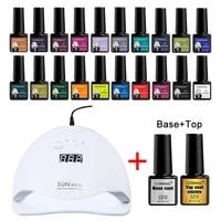 gel nail polish manicure set for nail art with 54w 36led nail lamp curing gels semi permanent led gel lacquer with base top coat