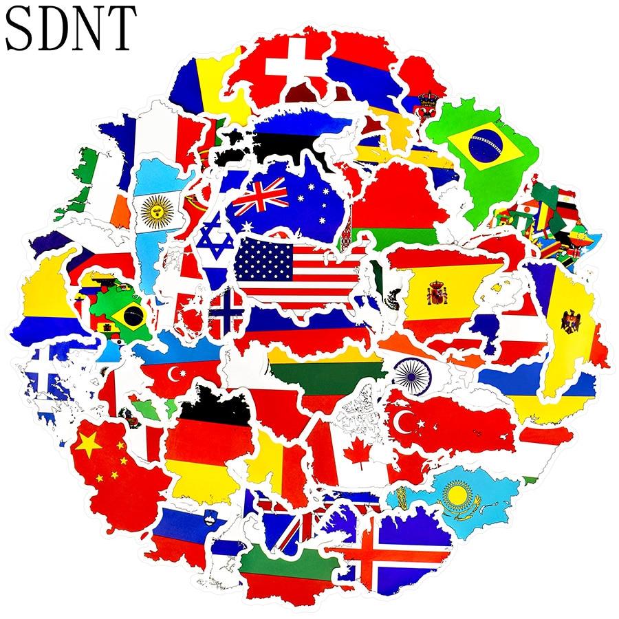 50 шт. национальные флаги туристические наклейки игрушки карта стран ПВХ наклейки для детей DIY чемодан ноутбук автомобиль скейтборд наклейк...