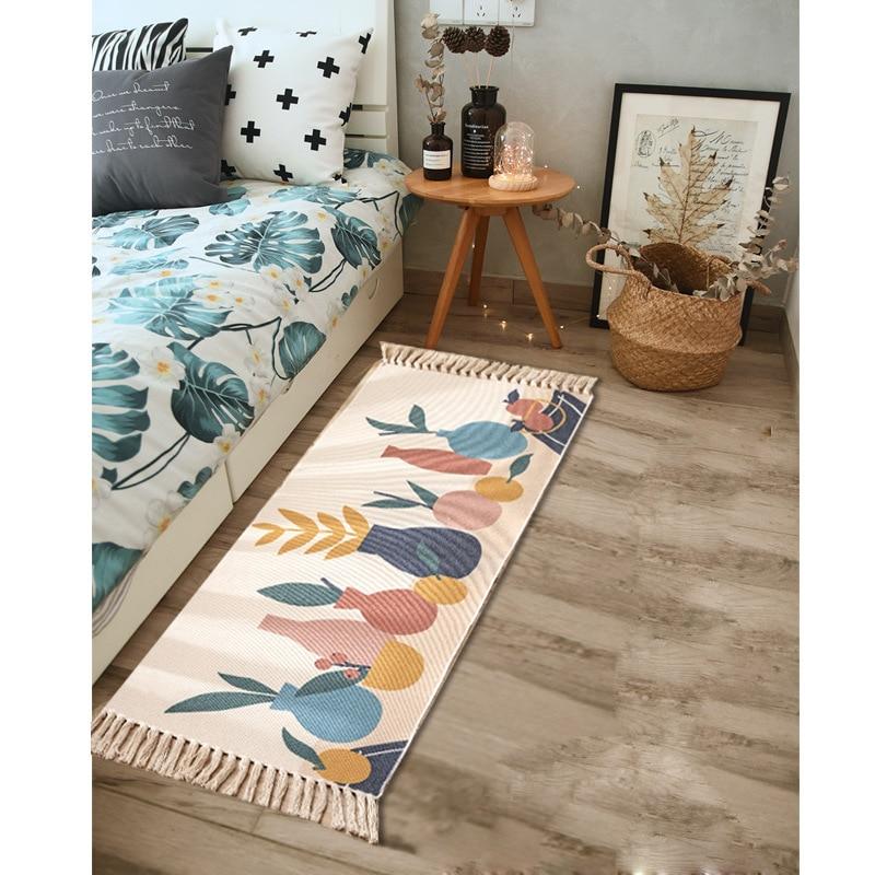 Retro Ethnic Rugs Living Room Carpet Runner Bohemian Geometic Floor Mat Bathroom Door Mat Bedroom Carpet with Tassels