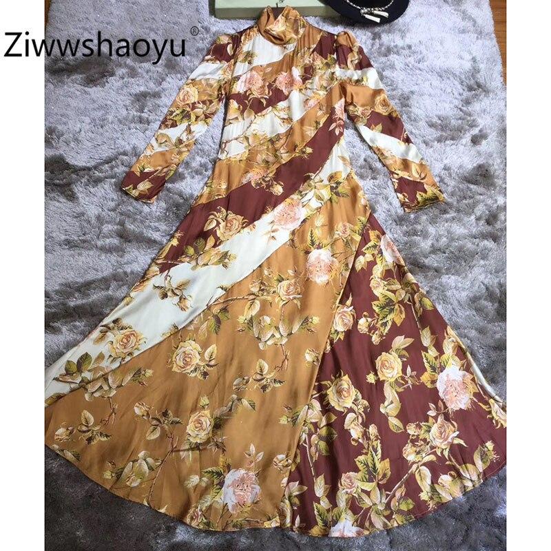 Ziwwshaoyu Women's Autumn Winter Color Matching Flower Print Vintage Long Dress Stand Puff Sleeve Elegant Party Dresses