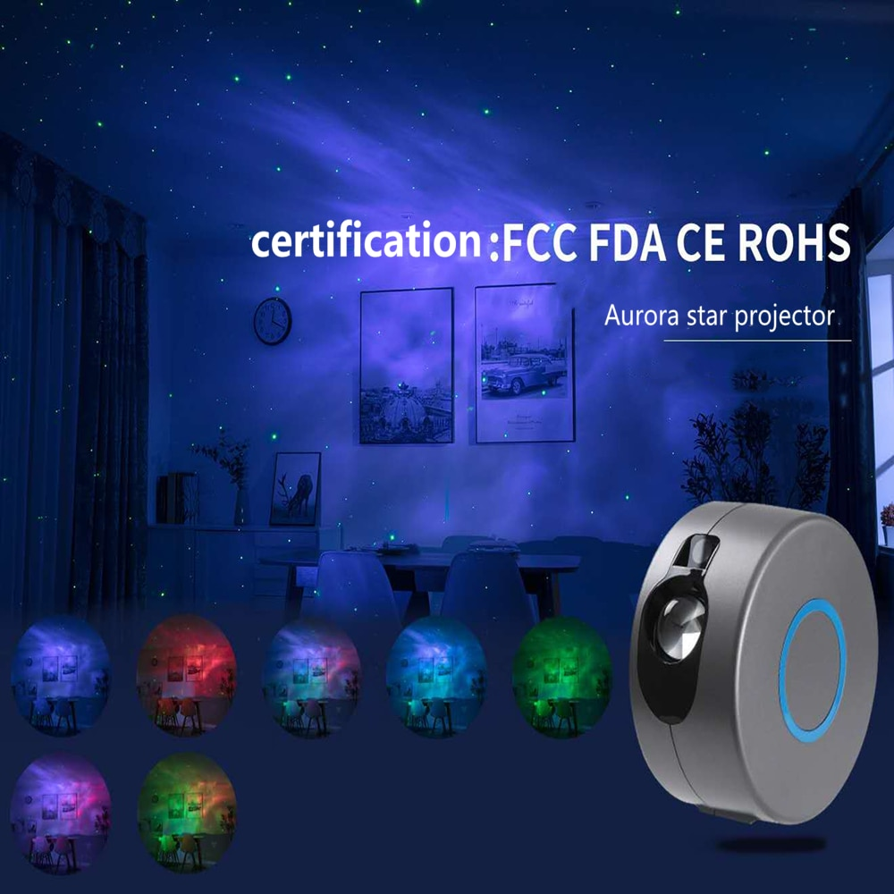 USB Starry Sky Projector Star Night Light Projection 7 Colors Ocean Waving Lights 360 Degree Rotation Night Lamp for Kid gift enlarge