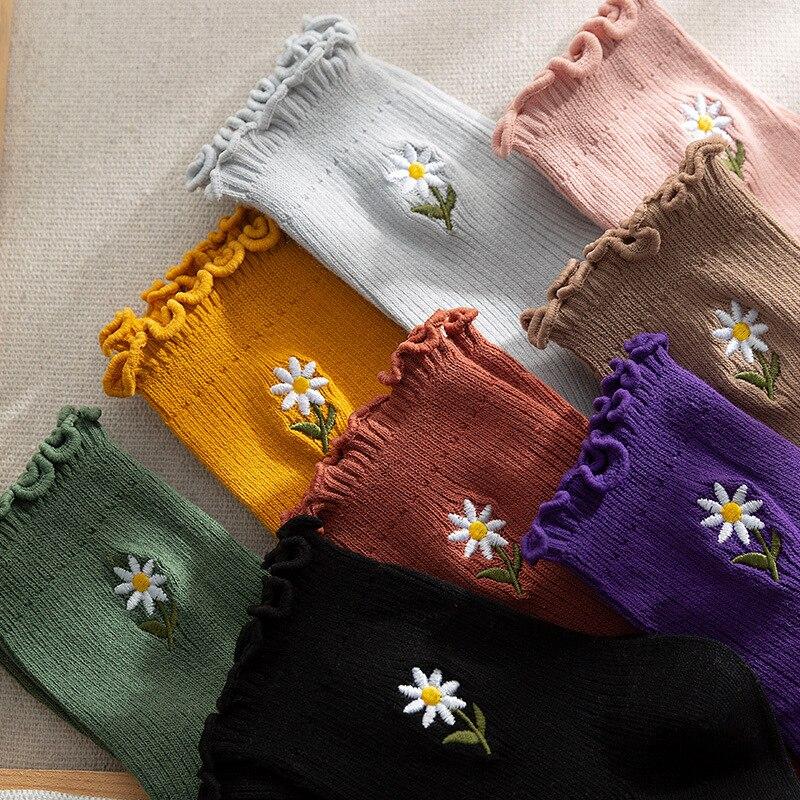 3 pairs sunflower frilly socks cartoon woman kawaii calcetines cute women skarpetki meias kobieta skarpety chaussettes calcetas