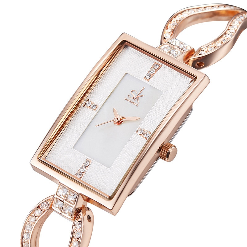 NEW Lady Watch Rectangular Luxury Gold Silver Clock Quartz Stainless Glitter Diamond Strap Band Waterproof Movement Wrist Watch
