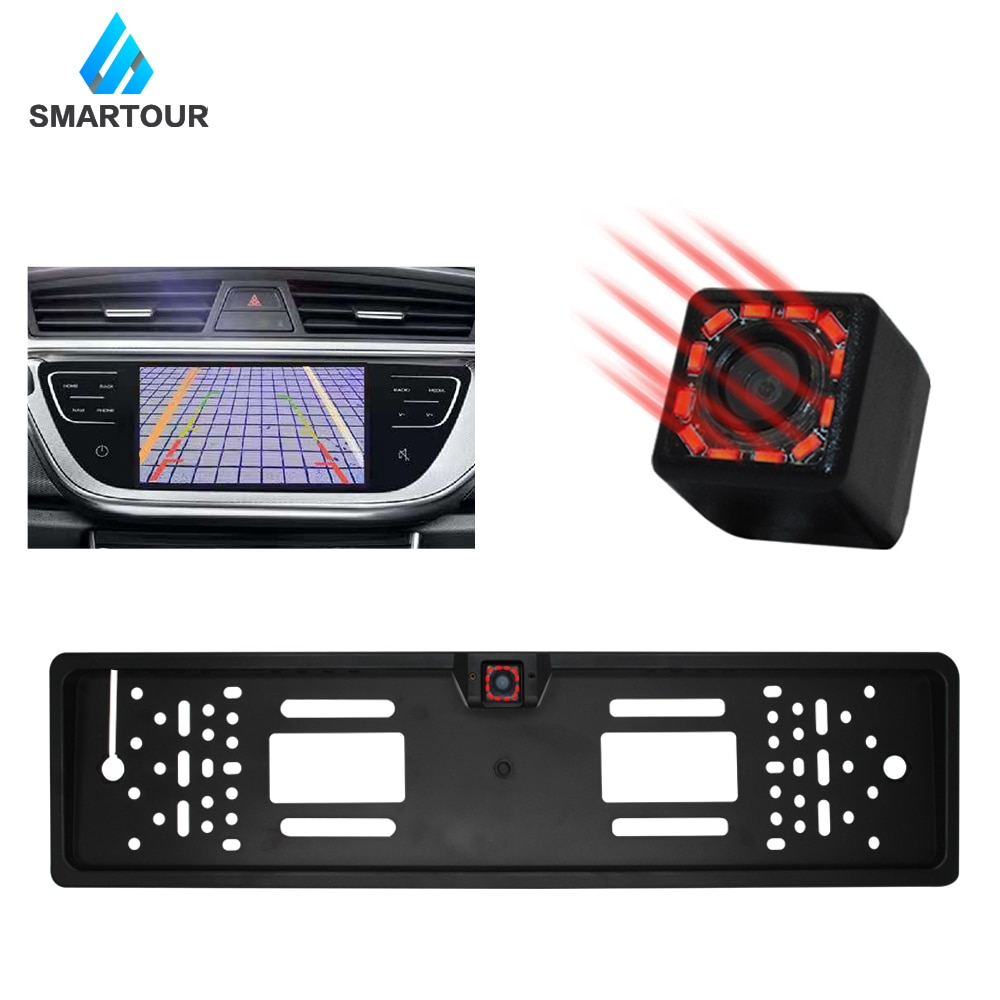 Cámara Smartour vista trasera de coche visión nocturna gran angular HD Color imagen impermeable cámara de marcha atrás de aparcamiento Universal