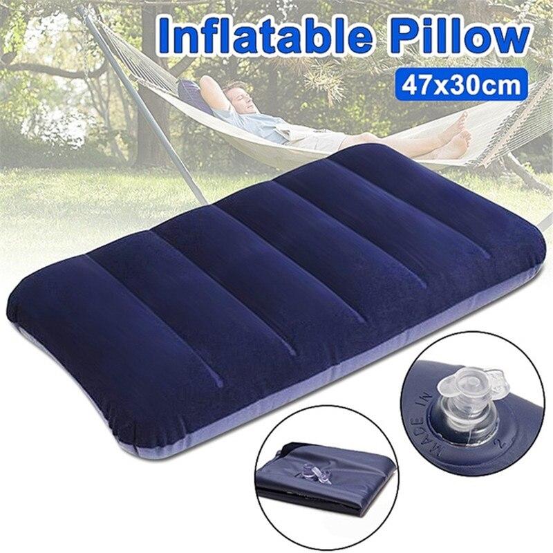 Almohada inflable ultraligera conveniente, almohada de aire de Nylon PVC para dormir, viaje, dormitorio, senderismo, playa, reposacabezas de avión y coche, soporte