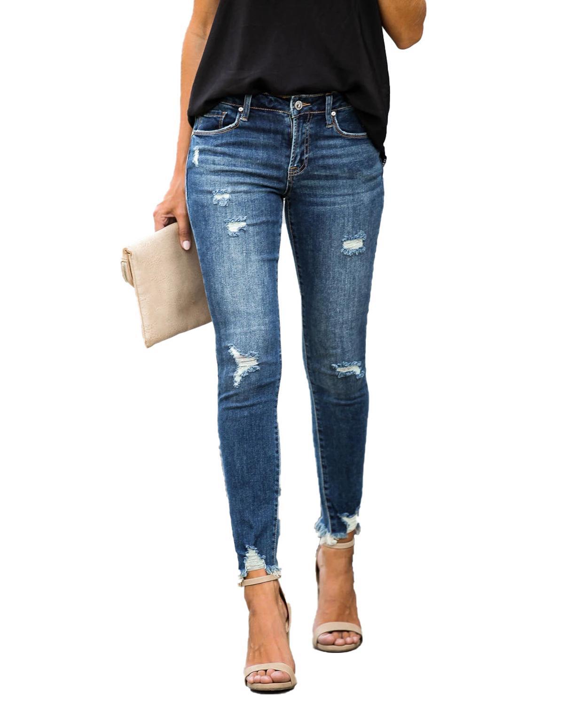 Новые узкие женские джинсы со средней талией, винтажные потертые джинсы-карандаш в стиле ретро, повседневные брюки, рваные джинсы
