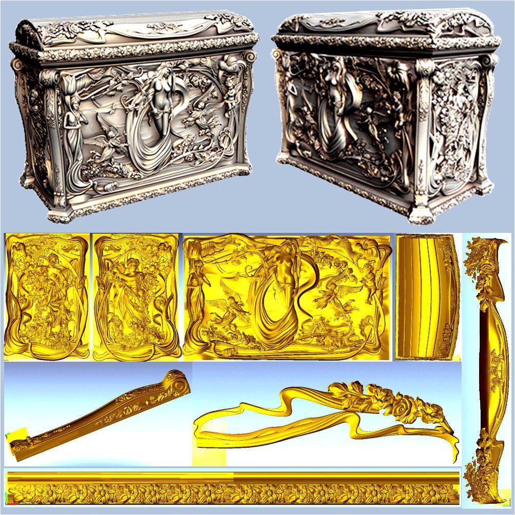 Caja de diseño de caja exquisita con chicas desnudas, modelo 3d, relieve STL para cnc, modelo STL 3d de formato para cnc, artcam vectric aspire