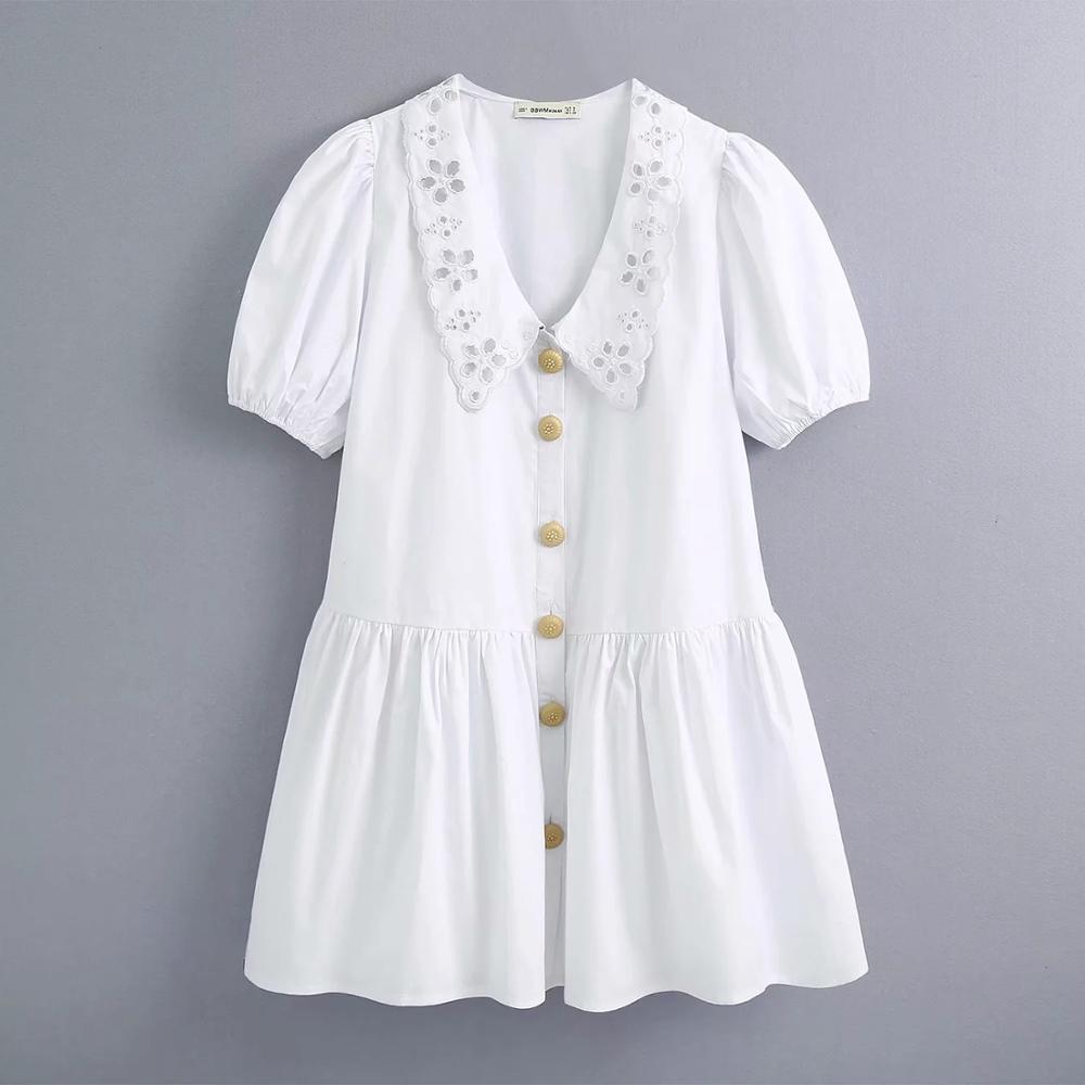 2020 new summer women white dress deep V-neck embroidery collar short lantern sleeves elegant casual female woman dresses