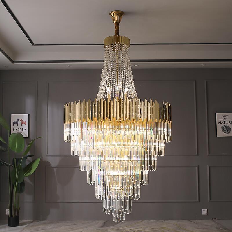 Large crystal chandelier gold luxury villa living room decoration LED chandelier