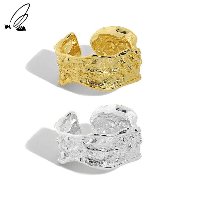 Женское кольцо с неравномерной текстурой, серебристое, в стиле панк