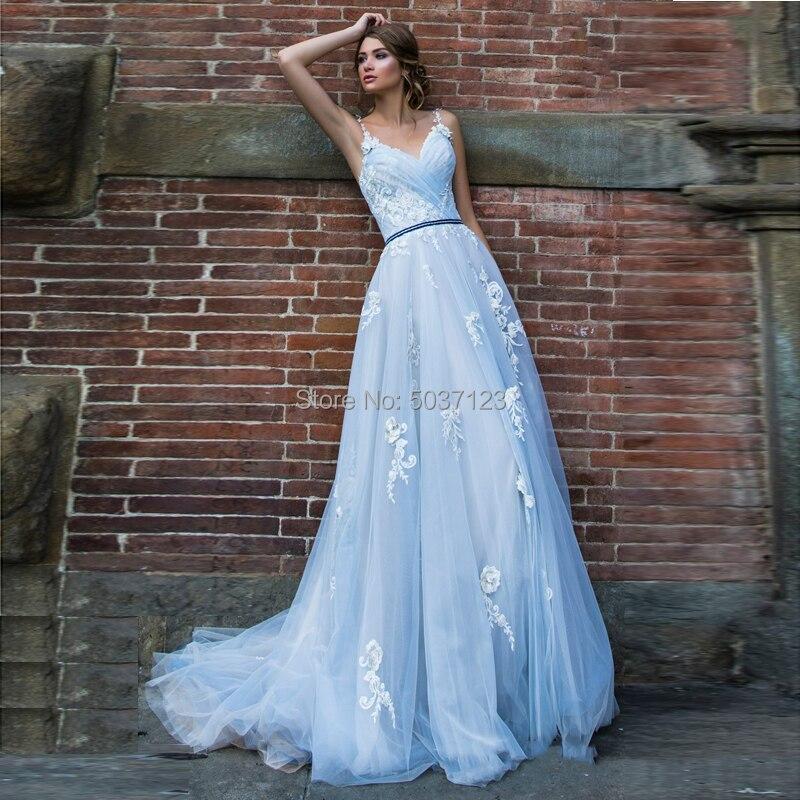 Светло-голубые Свадебные платья Vestido De Noiva с кружевной аппликацией трапециевидного силуэта с V-образным вырезом и бретельками со шлейфом