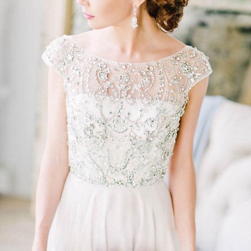 فستان زفاف عاجي ساحر ، خط A ، ظهر مفتوح ، صد مطرز ، أكمام ، فستان زفاف ، خط رقبة قارب ، 2021