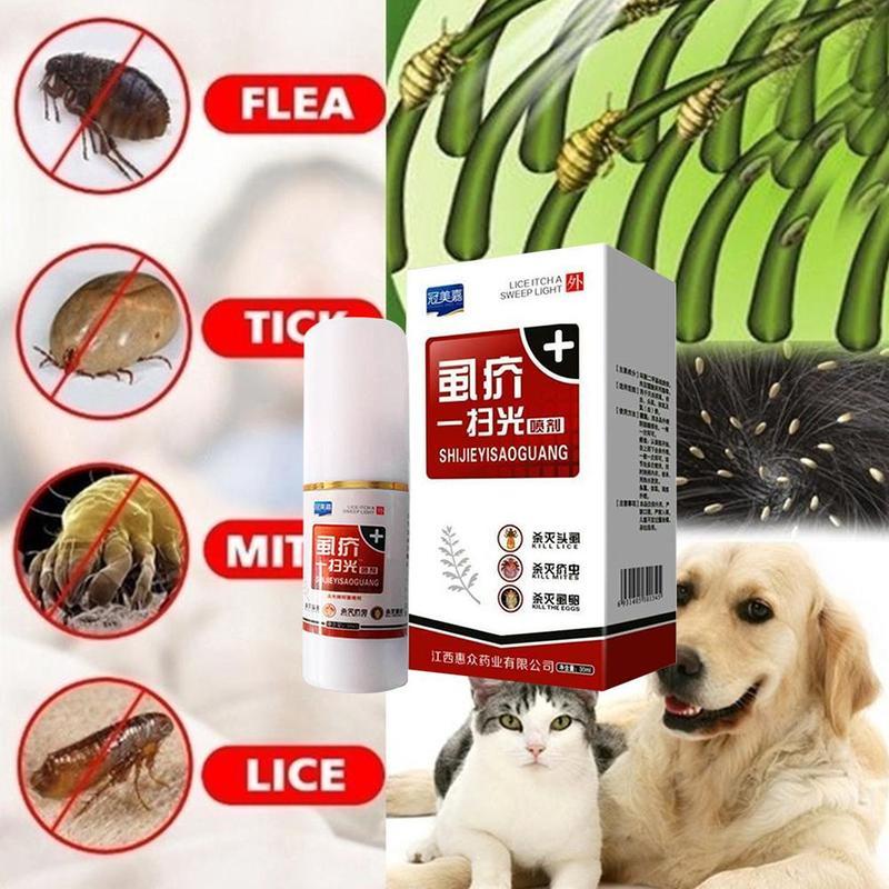 Средство от насекомых для домашних животных, средство от блох, вшей, насекомых для домашних животных, собак, кошек, щенков, очищение волос, ле...