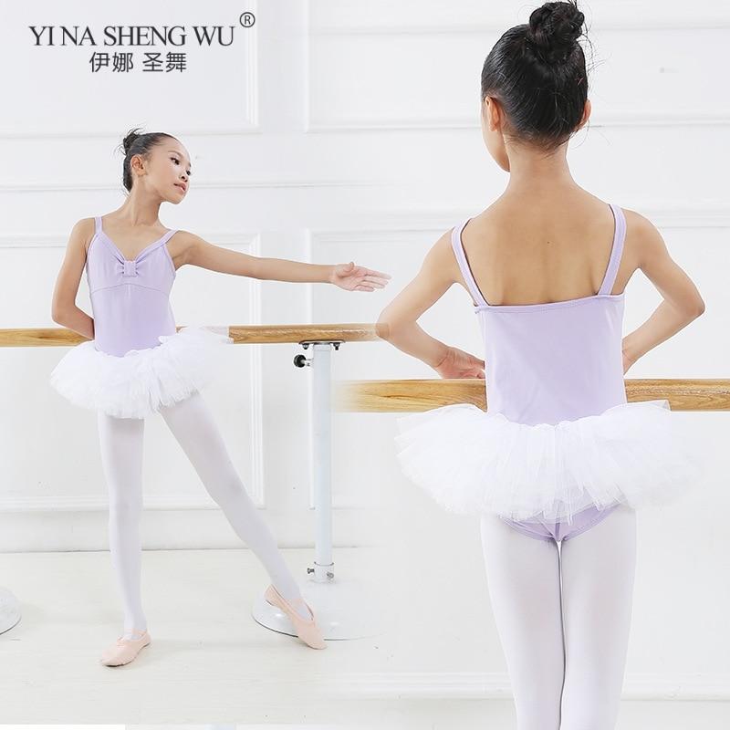 Kids Girls Ballet Tutu Dance Yarn Dress Gymnastics Leotard Dress Ballet Dancewear for Children's Ballerina Performance Costumes