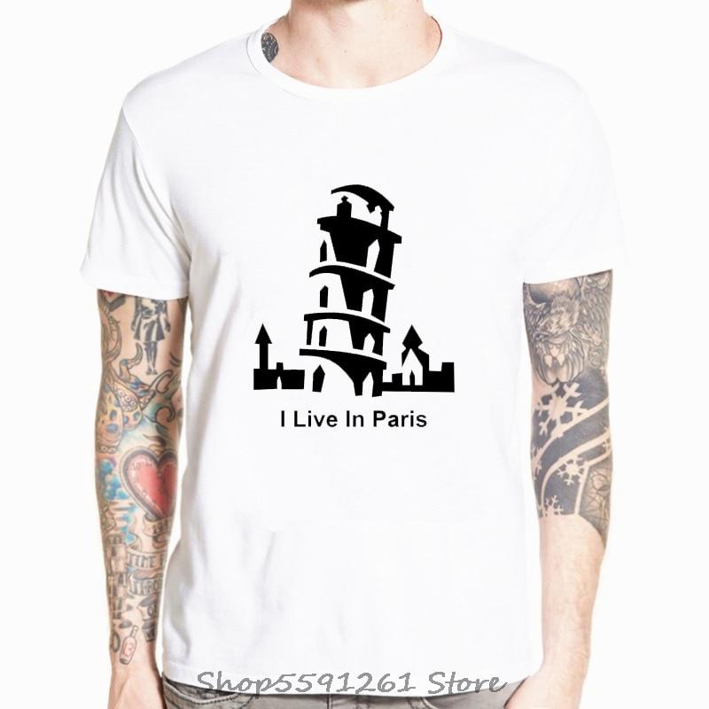 Camiseta con estampado de I Live In Paris para hombre, Camiseta de...