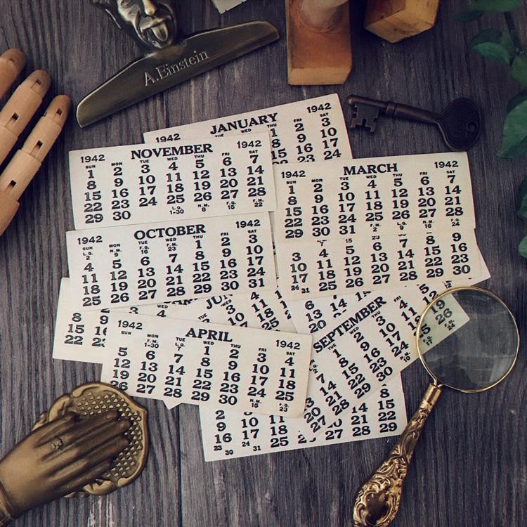 KLJUYP 12pcs calendar Paper Stickers for Scrapbooking Happy Planner/Card Making/Journaling Project
