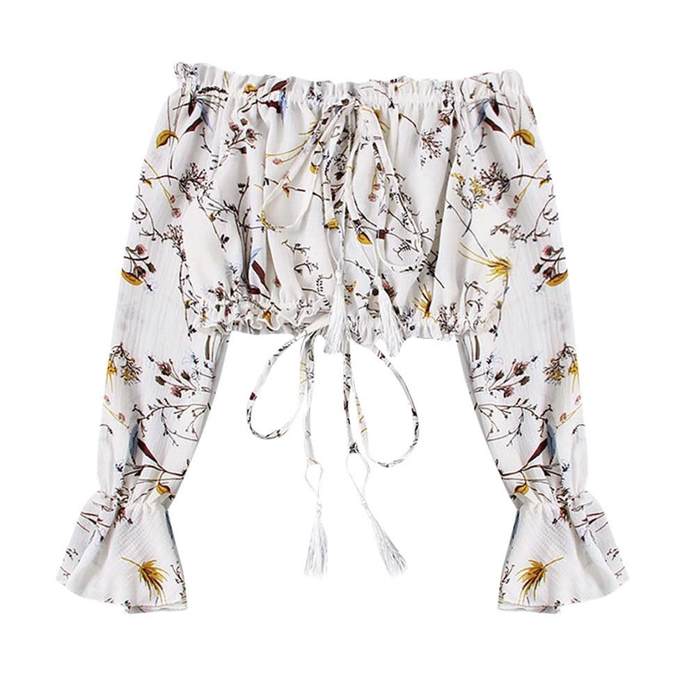 Moderno jersey de manga larga para mujer, con hombros descubiertos, estampado Floral, estilo Casual, blusa Crop de gasa