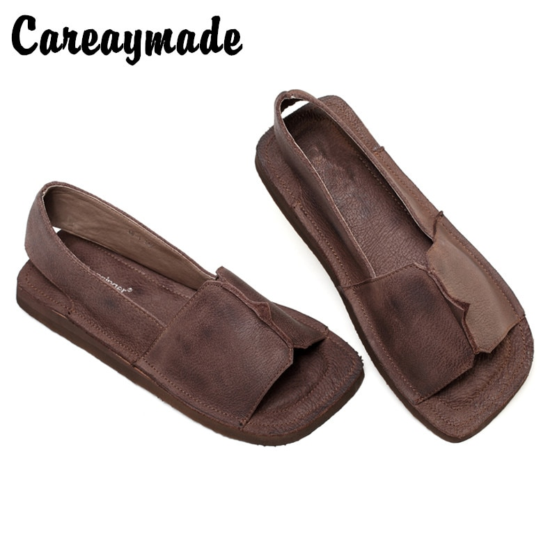 Careaymade-Original handmade Square Head retro sandals womens leather casual flat sole simple comfortable shoes