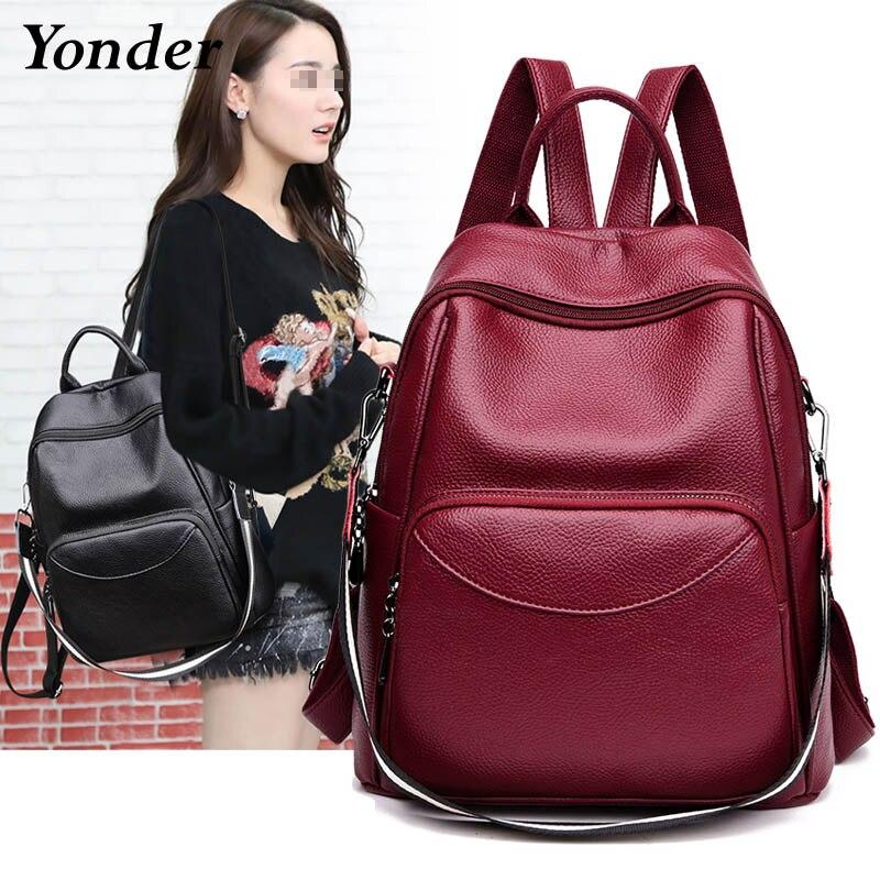 Grande sólida feminina mochila de couro do sexo feminino estudante universitário mochila mochila para adolescente adolescente a4 senhoras volta saco cinza azul