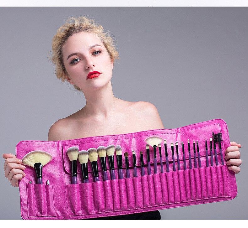 Pessoal 24 pçs conjunto de pincéis cosméticos saco azul do plutônio beleza pincéis maquiagem conjunto escova pó fundação escova veninow