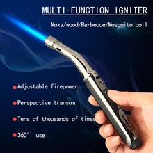 Windproof Inflatable Lighter Blue Flame Straight Into Outdoor Barbecue Torch Moxibustion Cigar Light