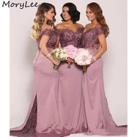 bridesmaid dresses mermaid off the shoulder satin pleated lace crystal bridesmaid dresses zipper wedding party bridemaid gowns