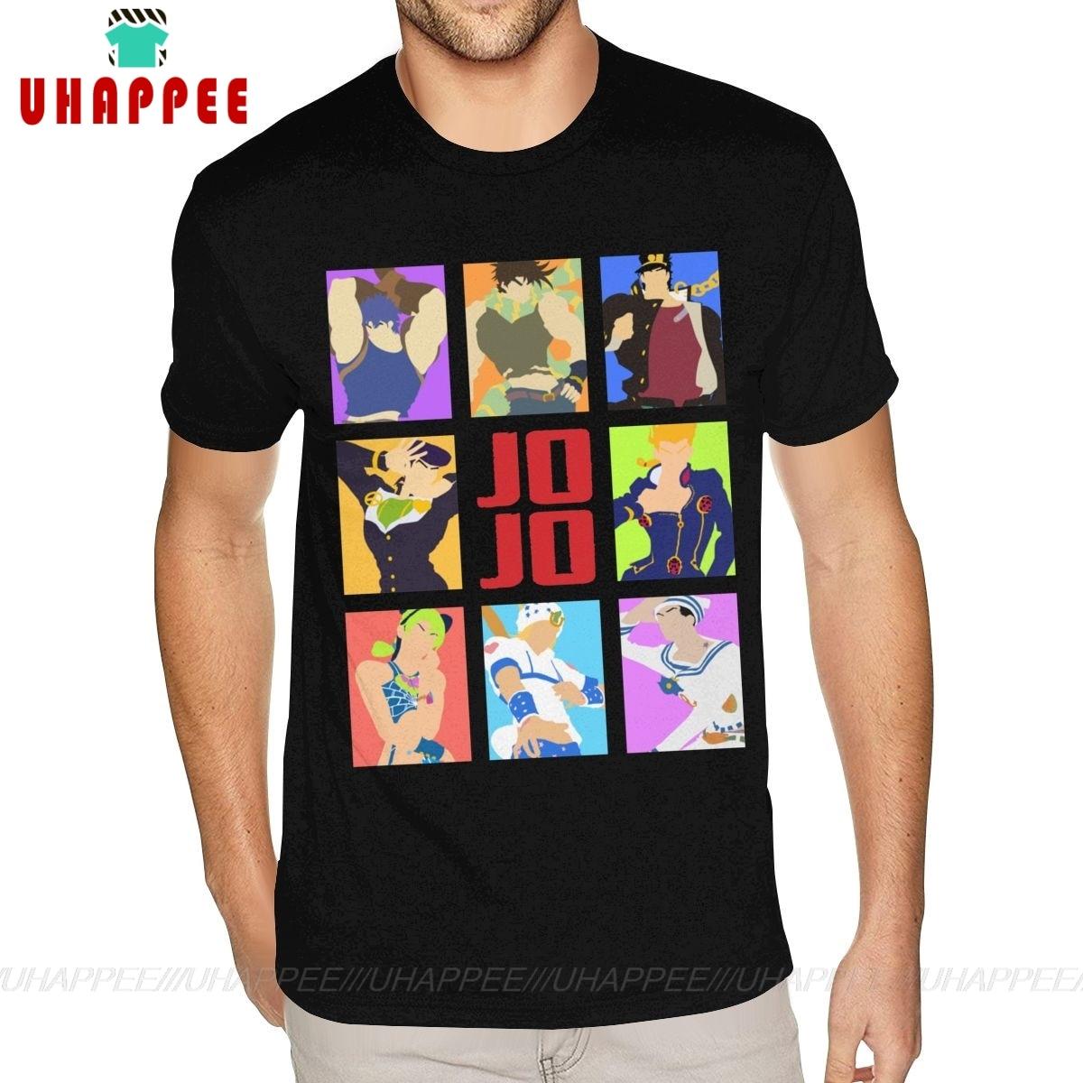 Desenhos animados imprimir jojo bizarro aventura heróis foto t camisas de manga curta algodão namorado 6xl camisa preta