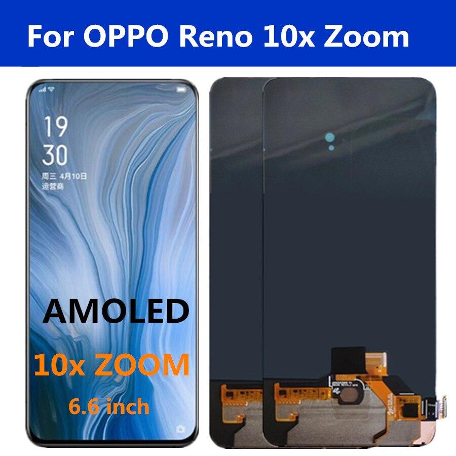 "6.6 ""amoled para oppo reno 10x zoom display lcd + painel de toque digitador assembléia para oppo reno 10x zoom cph1919 lcd"