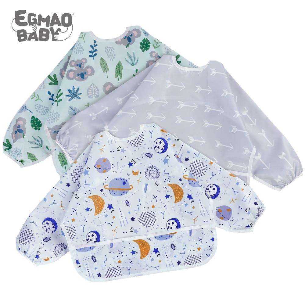 Baby Bibs Waterproof Long Sleeve Infant Feeding Bib with Pocket Cute Cartoon Apron Kids Burp Cloth U