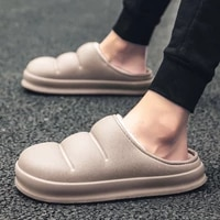 unisex bread shoes men and women autumn winter cold proof cotton zapatos fashion casual slippers korean style plus cashmer